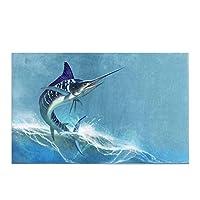 海の魚の剣の面白い縞模様のマーリン滑り止めバスラグ吸収性シャワーマットバスルーム浴槽の家の装飾のためのバスマット,40x60 cm