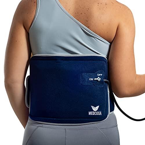Medcosa - Bolsa de gel frío para la espalda   Terapia de frío con compresión para aliviar el dolor   Faja de compresión para fijar la bolsa de frío a la zona lumbar
