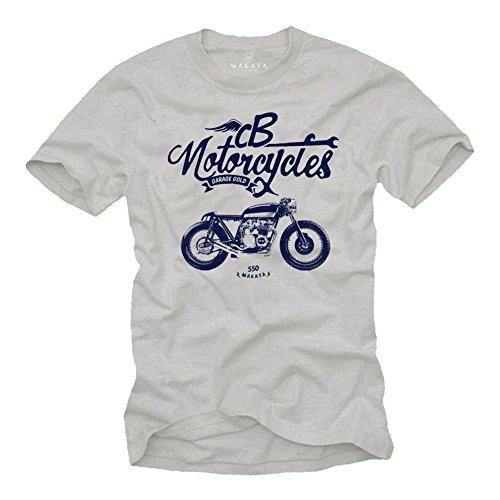 Motorradbekleidung für Herren - Honda CB 550 Vintage Cafe Racer - Motorrad Zubehör Biker Shirt für Männer grau L