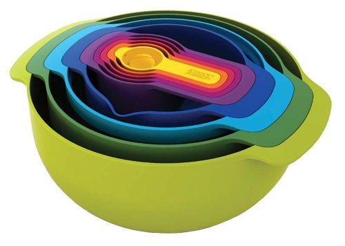 【BPAフリー】Joseph Joseph (ジョセフジョセフ) 食洗器対応 重ねて収納「計量カップ」「ボウル」他9点セット (ネストプラス) レインボーカラー 400373