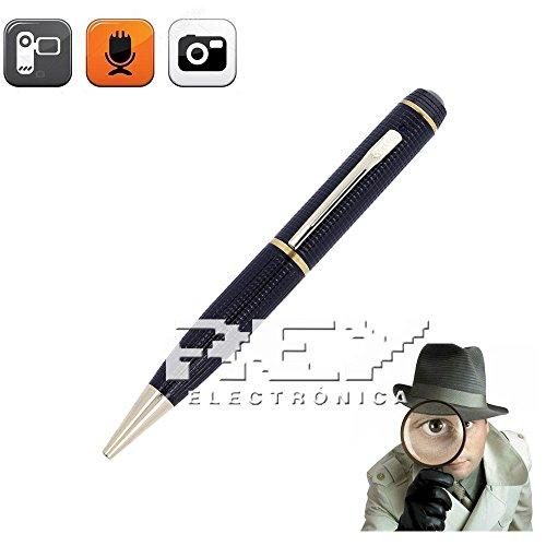 Bolígrafo Espía con Cámara Oculta, Video HD 720p, Grabación de Voz, Fotografía, USB + Micro SD de 16Gb, Dorado, Electrónica Rey