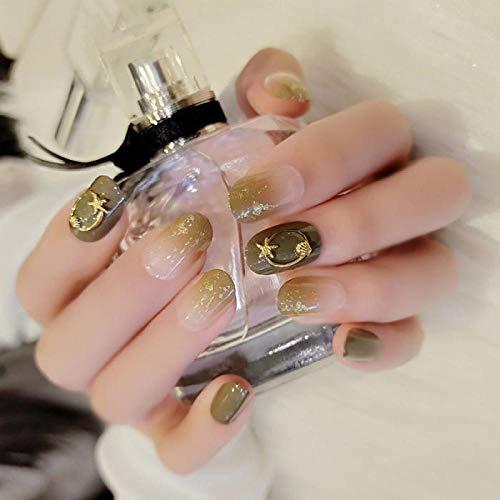 ZHEN 24pcs/boxed Avocado Small Green press on nails Wearable Detachable Fingertip Magic Box Waterproof Star Ornament Drill short nail