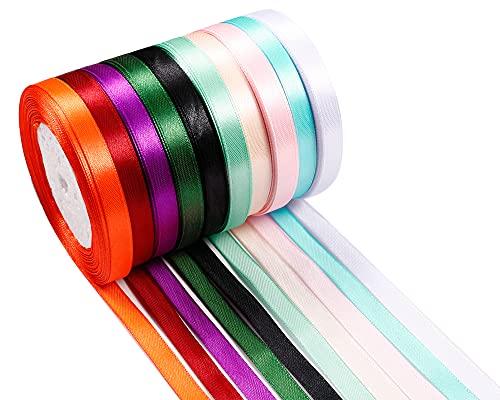 Micacorn Cinta de Raso, 300 Yardas 10 Colores(10 mm De Ancho) Cinta...