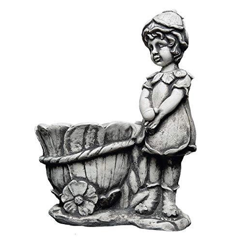 gartendekoparadies.de Massive Steinfigur Elfe mit Pflanztopf Schubkarre Blumentopf aus Steinguss frostfest