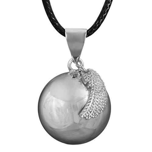 EUDORA Harmony Ball Bola Klangkugel Kette Angels Stimme Ball Anhänger Schmuck Geschenk für Schwangere Mutter Frauen Damen Pierre Kette Länge 114,3 cm Weichen Geflochtenen Seil