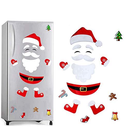 BDUCK Weihnachten Kühlschrank Magnete, Niedlichen Schneemann Kühlschrank Aufkleber Weihnachtsdekoration für Kühlschrank Tür Garage Büro Schränke Fenster PVC Aufkleber Set