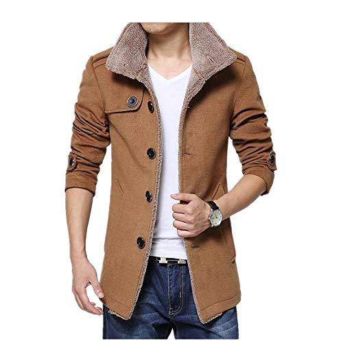 XIEZINB Mannen Plus Fluweel Plus Katoen Mode Mooie eenkleurige partij Warme trenchcoat