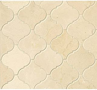 Polished Marble Arabesque Mosaic Tile in Crema Marfil