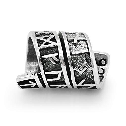 925 Sterling Silver Viking Rune Beard Bead Coil - Norse Rings for Hair, Dreads & Beards, Bead Charm Fit Major Brand Bracelet