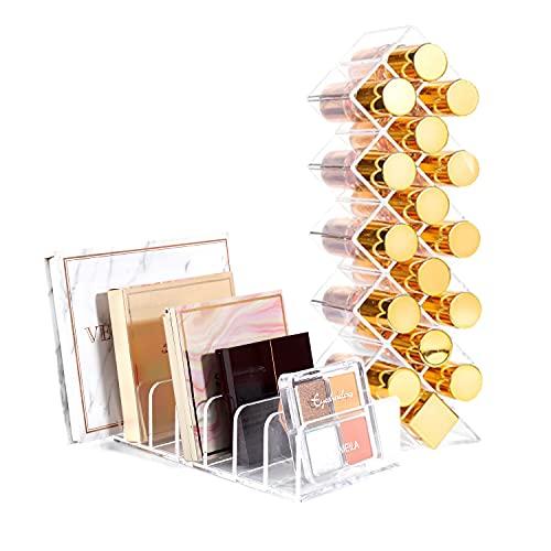 YIEZI 2er-Set Make Up Organizer – Kosmetik Organizer aus Acryl – Lippenstifthalter mit 16 Löcher & Schminkaufbewahrung mit 7 Steckplätzen – Aufbewahrungsbox für den Lidschatten, Lippenstift, Puder
