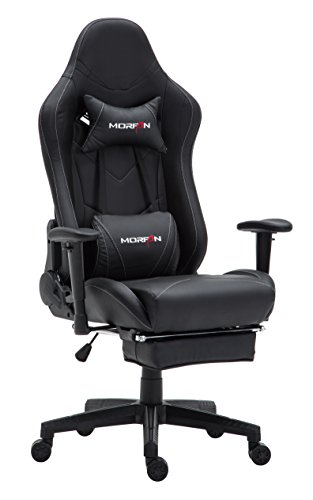 Morfan Gaming Office Chair Large Size High Back Racing Style Computer Chair with Massager and Footrest (Black) black chair gaming