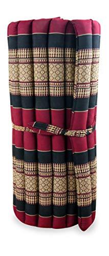 livasia Kapok Rollmatte in 190cm x 75cm x 4,5cm der Marke Asia Wohnstudio; Liegematte BZW. Yogamatte, Thaikissen, Thaimatte als asiatische Rollmatratze (rot/schwarz)