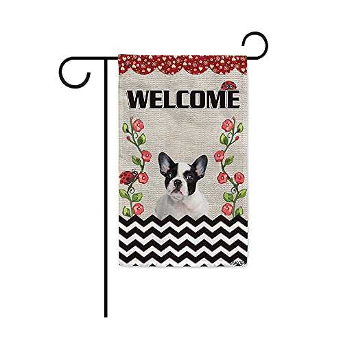 BAGEYOU Welcome Summer Ladybugs and Dog Garden Flag Adorable French Bulldog Puppy Rustic Floral Vine Wave Stripe Spring Farmhouse Decor Banner for Outside 12.5x18 Inch Print Double Sided