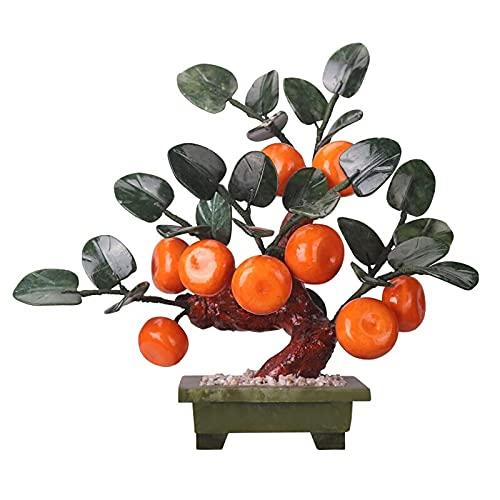 Künstliche Pflanzen & Grün Feng Shui Jade Geschnitzter Orangenbaum Bonsai Chinesischer Stil Dekoration für Reichtum und Glück Wohnzimmer TV-Schrank Bonsai Veranda Dekoration Schreibtischdekoration