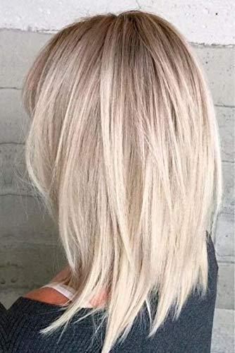 RUNATURE Haartopper Echthaar Ombre Farbe 10 Blondine Fading To Farbe 613 Gebleichtes Blond 16 Zoll Spitzen Basis Größe 13Cm X 8Cm 4 Clips Gerade Crown Hair Extensions