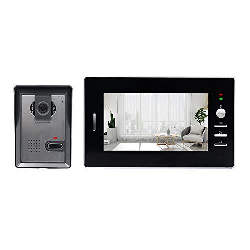 OWSOO 7 Pulgadas Videoportero por Cable, Intercomunicación de Video, Monitor Interior + Cámara Exterior Impermeable, Soporte Intercomunicador de Audio Bidireccional, Desbloqueo Remoto, Visión Nocturna