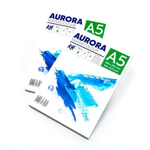 Aurora - Bloc de papel para acuarela rugoso (A4, 21 x 29,7 cm), 2 unidades, 12 hojas cada uno, 300 g/m², papel sin ácidos, ideal para técnicas húmedo sobre húmedo y húmedo sobre seco (A5)