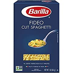 Cut spaghetti that cooks in as little as 6 -7 minutes Vitamin and Iron enriched spaghetti, perfect for anyone with allergens and dietary restrictions; Kosher certified Fideo cut spaghetti is perfect for soups and broths the whole family will love Bar...
