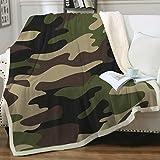 Sleepwish Camo Blanket Twin Size Soft Fleece Throw Blanket Brown Green Camouflage Sherpa Blanket Luxury Warm and Cozy Camping Blanket Gifts for Kids Boys Men Women (60' X 80')