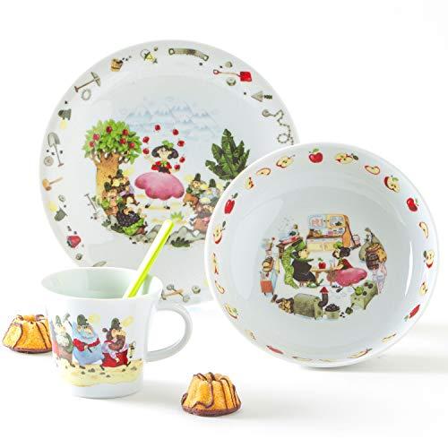 Kahla 32D200A50565C Kids Schneewittchen Kinderset 3 teilig Porzellan Kindergeschirr Dekor bunt Teller Tasse Suppenteller Kinderservice