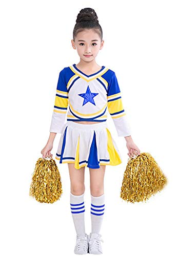 LOLANTA Filles Costume Bleu de Costume de Pom-Pom Girl Match Pom Poms Chaussettes Déguisement