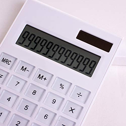 Desktop Calculator Ultra-Thin 12 Digits Large Display Solar & Battery Dual Power Crystal Buttons Basic Counter for Home Office Business School Supplies
