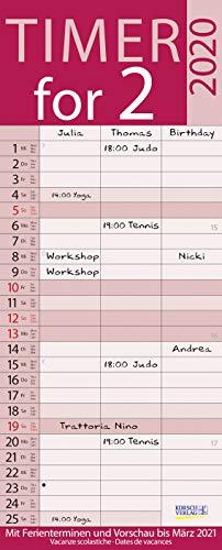 Timer for 2 Lifestyle 2020: Familienplaner mit 3 breiten Spalten. Hochwertiger Familienkalender mit Ferienterminen, Vorschau bis März 2021 und nützlichen Zusatzinformationen.