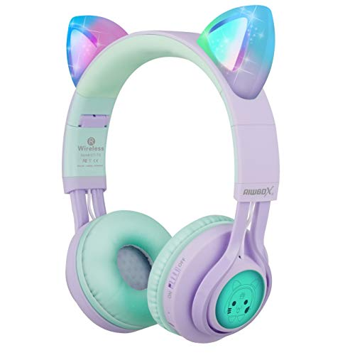 Kids Headphones, Riwbox CT-7S Cat Ear Bluetooth Headphones Volume Limiting 85dB,LED Light Up Kids Wireless Headphones Over Ear with Microphone for iPhone/iPad/Laptop/PC/TV (Purple&Green)