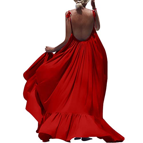 Like The Wind Womens Boho Maxi Flowy Solid Sleeveless Halter Straps Long Backless Dress Big Skirt Pleated Skirt Uefaof Red