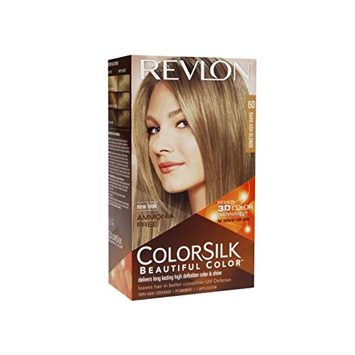 Revlon Colorsilk Beautiful Color, Permanent Hair Dye with Keratin, 100% Gray Coverage, Ammonia Free, 60 Dark Ash Blonde