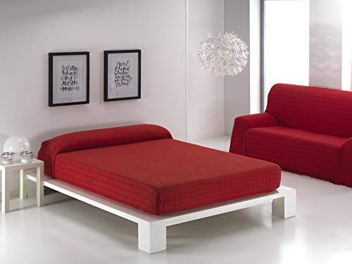 Regalitostv (180 Rojo) ALFARNATE* Colcha Tejida con Flecos Multiusos Foulard Cubre-Camas Plaid Liso para Cama o sofá Garantizada Fabricado EN ESPAÑA (180_x_260_cm, Rojo)
