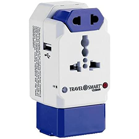 Travel Smart All-In-One Adapter with USB; 3 Outlets; US, Europe, UK, Italy, Spain, China blue