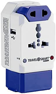 Travel Smart All-In-One Adapter with USB; 3 Outlets; US, Europe, UK, Italy, Spain, China