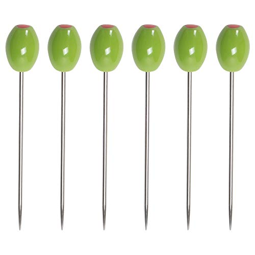 Cork Pops Stainless Steel Green Olive 6 Inch Cocktail Pick Set of 6