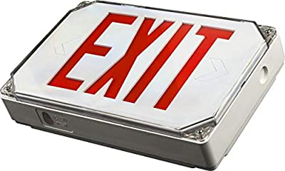 LED ENERGY PLUS Wet Location Red Exterior Weatherproof Outdoor LED Exit Sign with 90 Minutes Battery Backup AC 120V/277V UL Listed