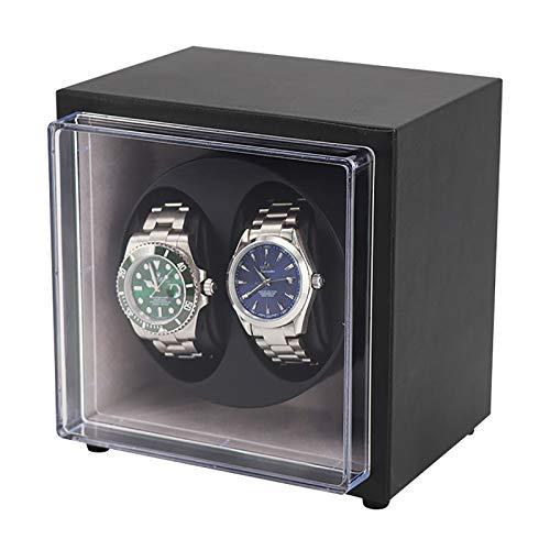 Reloj Winders - 2 posiciones PU Cuero de cuero Mostrador de almacenamiento Mostrador Dual-Power Watch Winder Reloj mecánico automático Reloj de bobinado Caja de enrollamiento Hombres portátiles Coctel