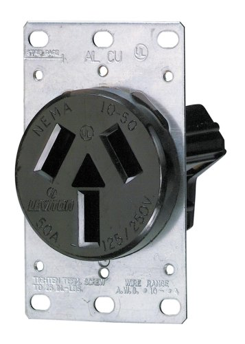 Leviton 800-05206-000 Range Receptacle 50 Amp 125/250V Flush Mount Black