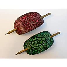 Painted Flowers 2 Hair Barrettes with Sticks Choice of Colors Ponytail Holders Long