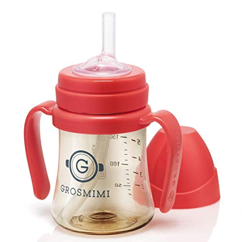 Grosmimi SpillProof no Spill Magic Sippy Cup with Straw with Handle for Baby and Toddlers, Customizable, PPSU, BPA Free, 6 oz (Red)
