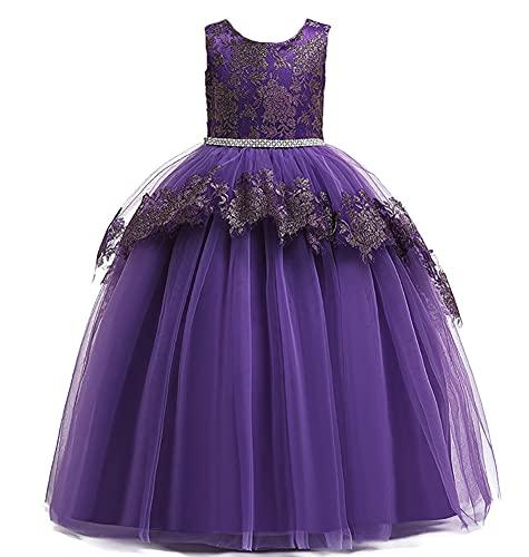 WAWALI Vestido de dama de honor con bordado de encaje sin mangas para niñas de flores elegante princesa vestido de fiesta de boda vestidos de bola, Morado (, 8-9 Años