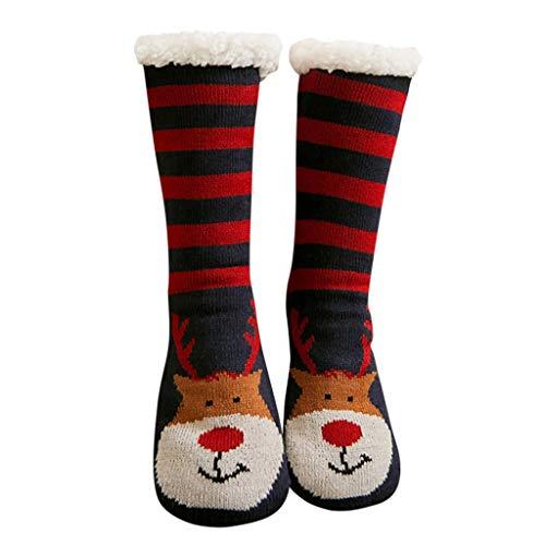 Lazzboy Weihnachtsfrauen Drucken Dickere Bodensocken Teppichsocken Warme Kuschelsocken Dicke Wintersocken Hausschuhsocken Hüttensocken Fleece Gefütterte Slipper Socken(F)