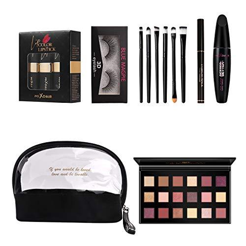 Kit Eyeshadow palette set de 18 Couleurs Palette Ombre à Paupières Mascara, Rouge à lèvres, Trousse de toilette, Faux cils,Pinceau de maquillage, Crayon à sourcils