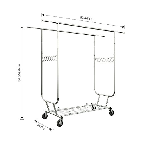 LANGRIA Heavy Duty Supreme Commercial Grade Double Rail Clothing Garment Rack with Wheels Expandable Rods Collapsible Clothes Rack Max Load Capacity 287 lbs. for Bedroom Dressing Room Store (Chrome)