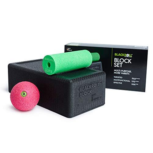 BLACKROLL® BLOCK - das Original. Yoga-Block mit abgestimmtem Faszien-Ball und kleiner Faszien-Rolle