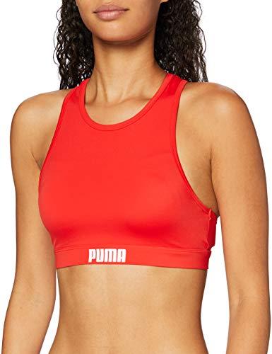 PUMA Frauen Racerback Swim Top Bikini Oberteil, Rot, M