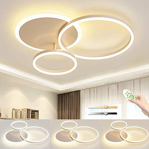 LED Deckenleuchte, Deckenlampe Moderne Einfache Drei Kreise, 54W Dimmbar Mit Memory Funktion, Geeignet Für 8~15㎡ Wohnzimmer, Schlafzimmer, Kinderzimmer Deckenleuchten, L65cm * B50cm * H8cm
