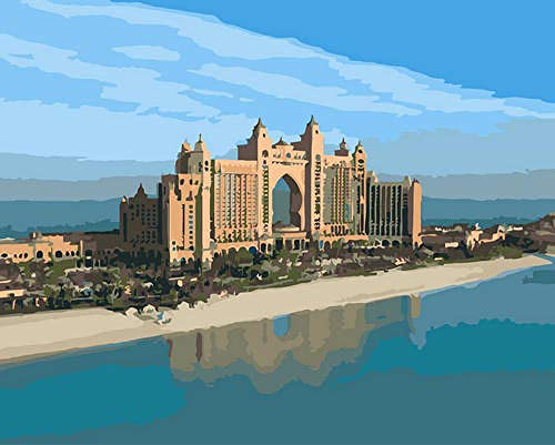 Paint by Numbers Kits, Riverside Building Picture Drawing with Brushes 16 x 20 inch Christmas Decorations Gifts,Without Frame