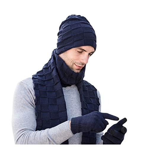 Lot de 3 bonnets, écharpes, gants épais en tricot chaud pour le ski et les hommes et les femmes