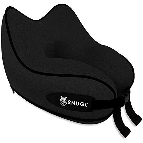 SNUGL Reisekissen - Premium Ergonomic Design Memory Foam Kissen - Kopf-, Nacken- und Kinnstütze für Flugzeug, Zug oder Auto - Reisetasche mit Karabinerhaken inklusive (Jet Black)