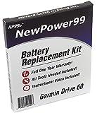 NewPower99 Kit de repuesto de batería con batería, video instrucciones y herramientas para Garmin Drive 60